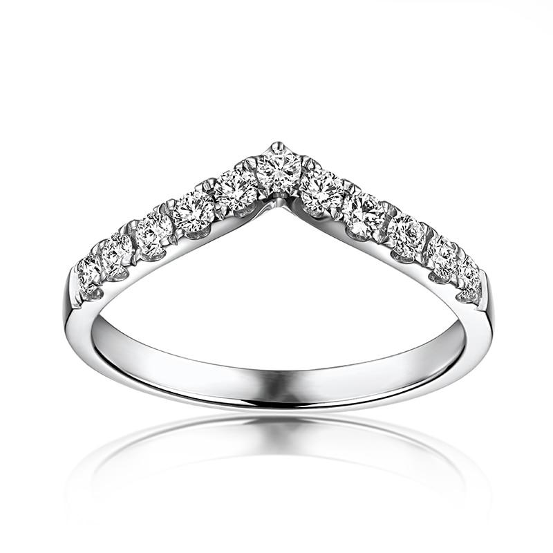 купить VS G F Solid 10k White Gold Engagement Ring Wedding Band Moissanites Anniversary Party Fine Jewelry V Shape Classic Brilliant по цене 10961.94 рублей
