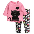 Europe and the United States style autumn children 's clothing cotton girl  long - sleeved children' s T - shirt set 20065
