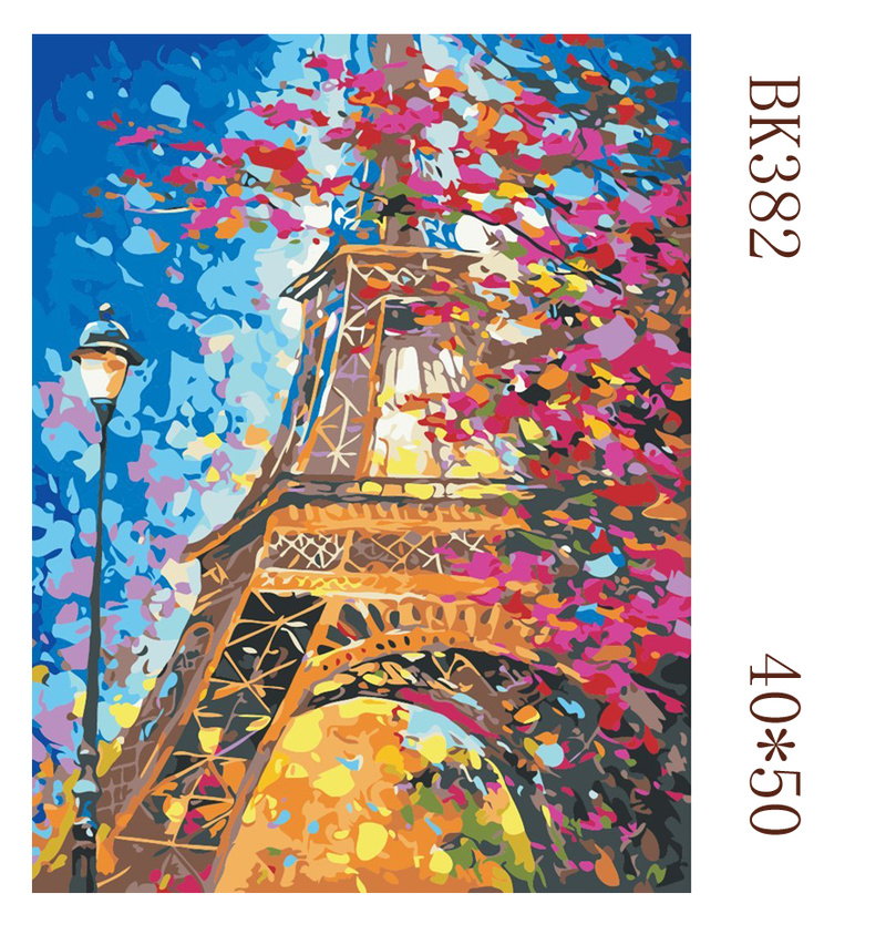 Dusk Love Tower Picture Diy Paintings By Numbers 40x50 Wall Art Handpainted Oil Painting on Canvas for Home Decoration