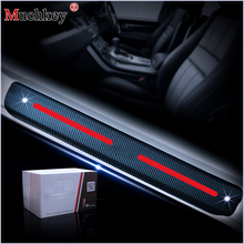 4pcs 4D Carbon Fiber Car Scuff Plate Door Sill Guard Stickers For Seat Leon 2 FR+ Ibiza cupra Altea Belt Racing car styling