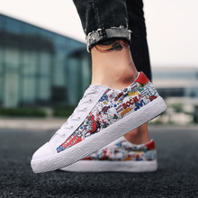 2019 new fashion flat canvas shoes men's graffiti shoes with casual breathable non-slip vulcanized shoes Graffiti solid shoes fashion hip hop graffiti canvas shoes rock women girls casual shoes 2018 new woman printed flat shoes