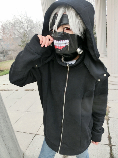 Moda Kaneki Cosplay Felpa Tokyo Con Costume Ghoul Cappuccio Ken xPBXIB