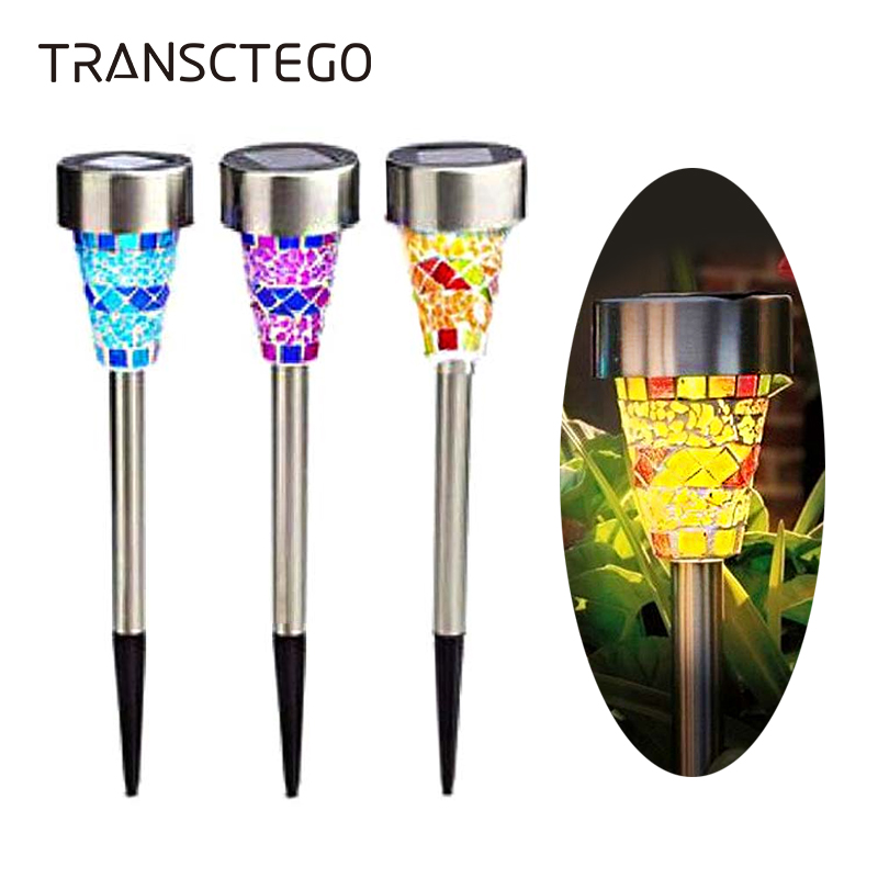 Solar Powered Stainless Steel LED Mosaic Garden Post Light Outdoor Patio Lamp