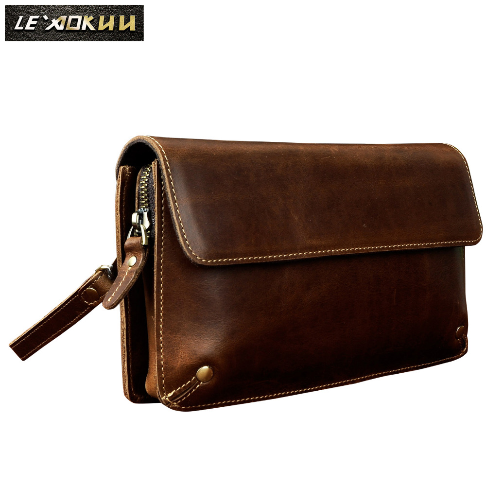 Fashion Male Organizer Wallet Leather Design Checkbook Chain Zipper Pocket Wallet Purse Clutch bag 7 Tablet