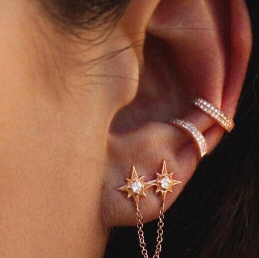 2019 el más nuevo no piercing brazalete de cristal 925 pendientes de plata para las mujeres, Declaración de compromiso joyas de oro clip pendientes mujer plata
