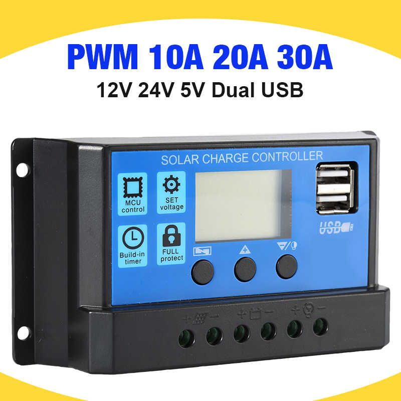 30A/20A/10A 12V 24V Auto Solar Charger Controller PWM Controllers LCD Display 5V Dual USB Output Solar Regulator Controller