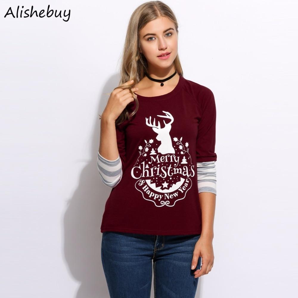 Autumn Winter Long Sleeve T Shirt Women Christmas Deer Letter Printed T-Shirt Female Casual Patchwork Tees Femme Tops SVH032154