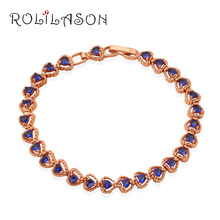 Gorgeous style rose Gold Tone new 2016 Bracelets for women Blue crystal Health Nickel Lead free