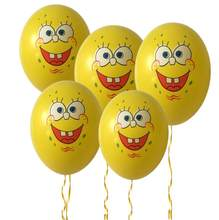10pcs 12 inches Cartoon SpongeBob Latex Balloons Cute Smile Sponge Bob Emoji Toy Balloons For Kid's Birthday Party Decorations(China)