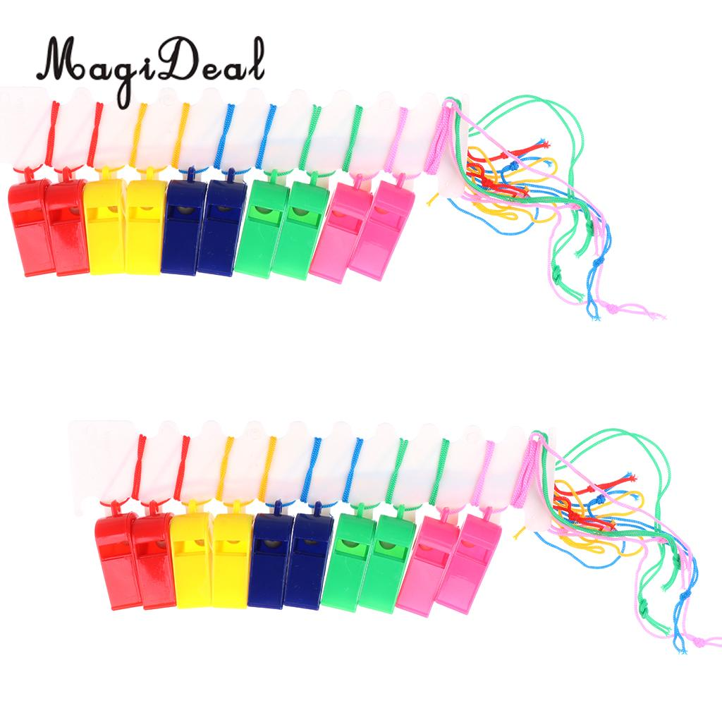MagiDeal 20Pcs Plastic Whistle With Lanyard for Boat Raft Party Hiking Camping Travel Sport Games Emergency Survival Rescue Tool
