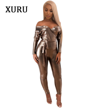 XURU Long Sleeve Deep V-neck Women Jumpsuit Autumn Winter Bodycon Julmpsuits Romper England Style