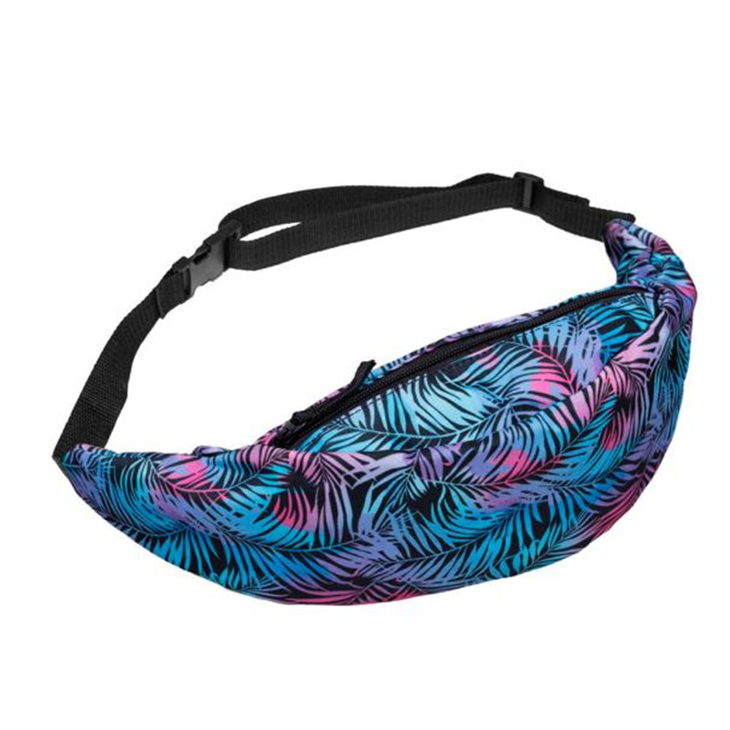 2018 Hot Sale Unisex Flower Print Bag Cool Casual Waist Bag Pack Outside Phone Travel Handy Fanny Multi-Function Waist Bags