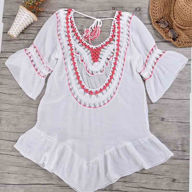 Bohemian Style Cotton Loose Linen Fabrics Women 39 s Bikini Beach Blouse Hollow Handhook Flower with Lotus Leaf Beach Dress AA357 in Cover Ups from Sports amp Entertainment