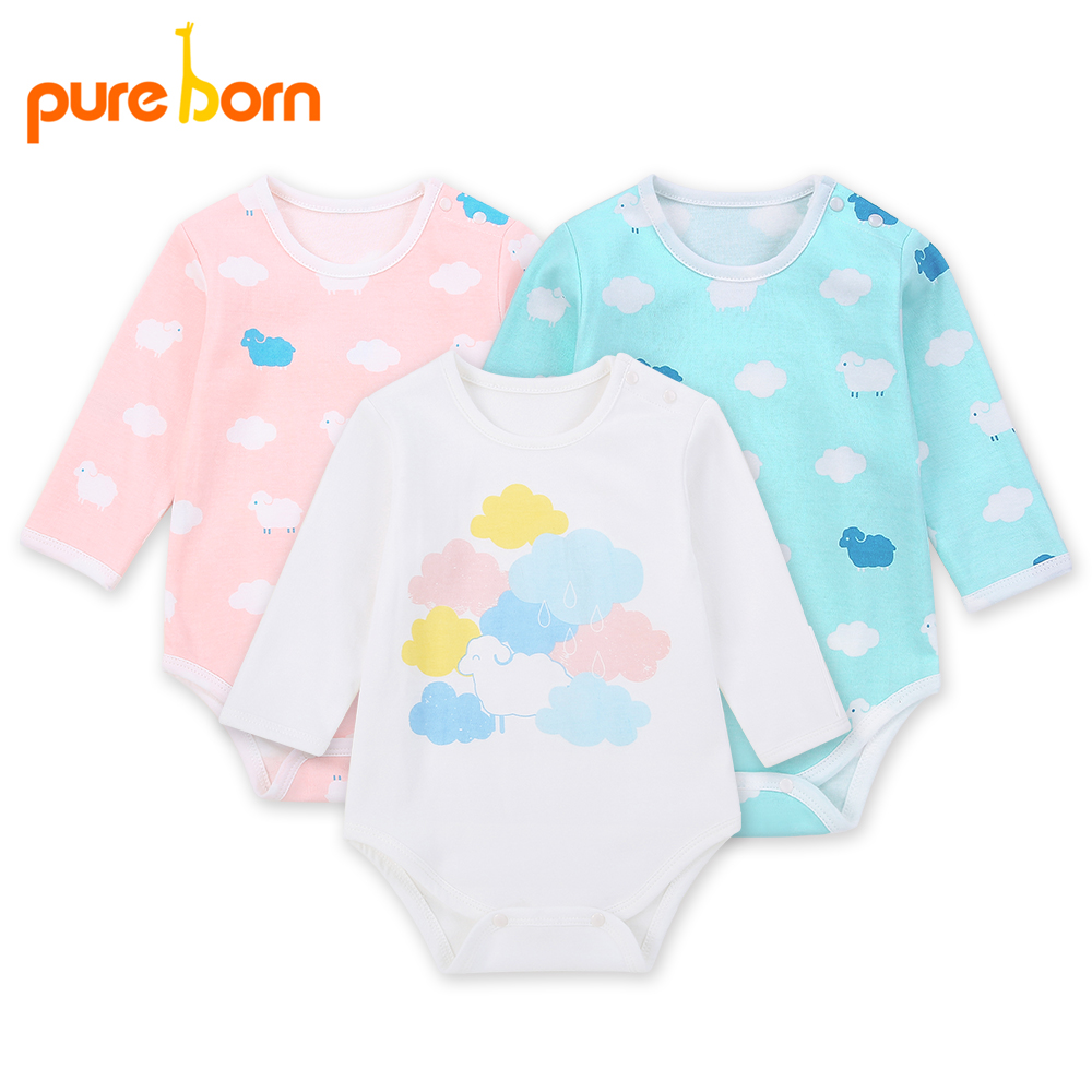 Pureborn Bodysuit Baby Girl Clothes Triangular Climbing Suit Long Sleeve Bodie for Newborns Overalls Jumpsuit Clothing Christmas