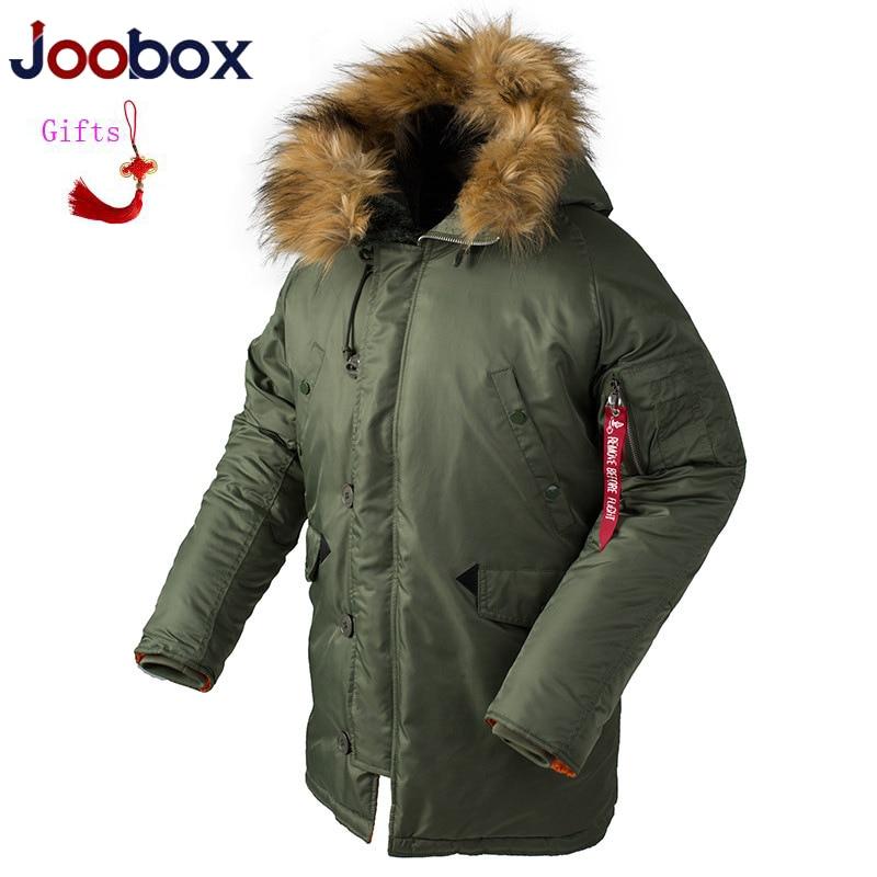 JOOBOX Military N3B Male Jacket European Size Winter Army Green Bomber Jacket Men Pilot Brand Flight Thick Windbreaker Men   parka