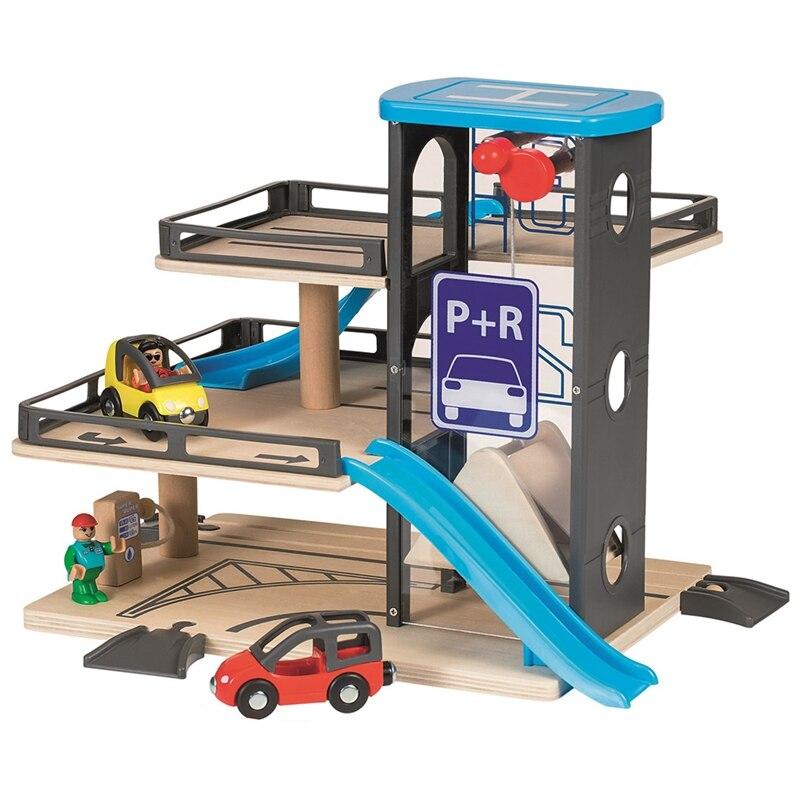 Bambin bois jouets véhicule blocs Parking Lot Set Rail Transit jouet ascenseur en bois piste chemin démonter jouet pour garçon cadeau d'anniversaire