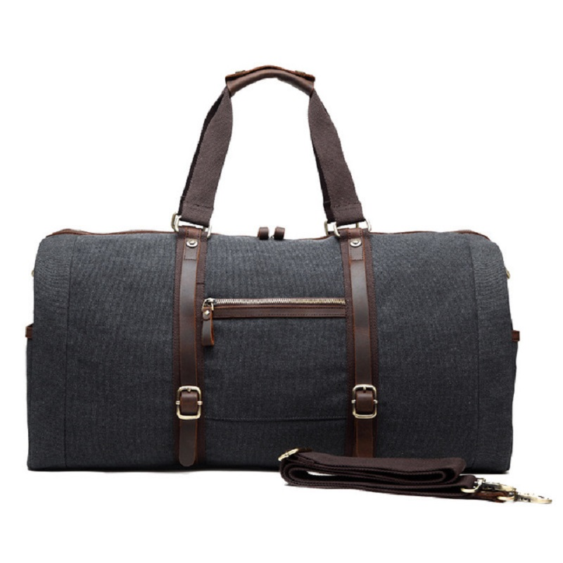 M254 New Canvas Leather Men Travel Bags Carry on Luggage Bags Men Duffel Bags Handbag Travel