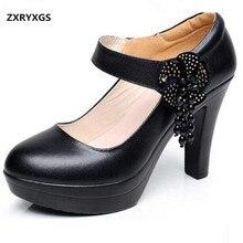 ZXRYXGS marca de cuero de vaca plataforma mujeres bombas 2018 nuevos  diamantes de imitación flores mujeres zapatos de moda tacon. 2c993c7d1f43