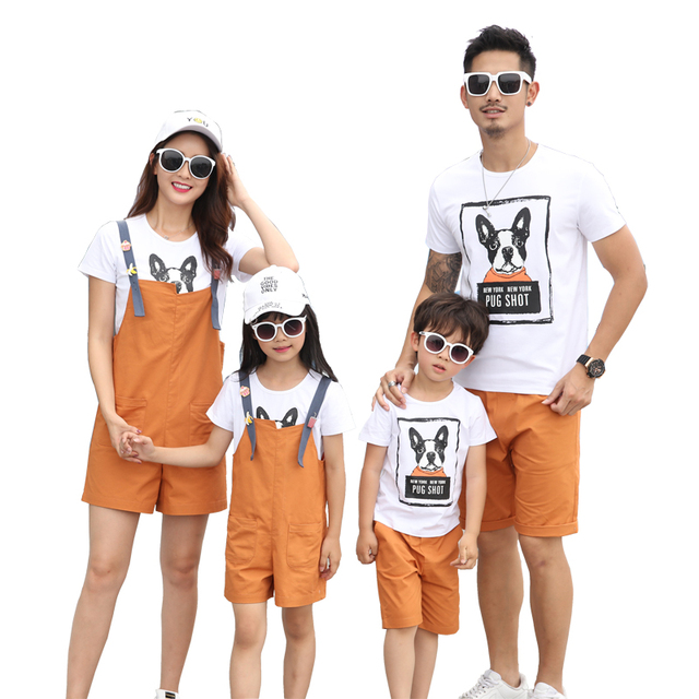 d97da1c142699 Family Matching Outfits Cotton T shirts+Overall Shorts for Mother and Daughter  Tops+Shorts for Dad Son Fashion Family Set TX