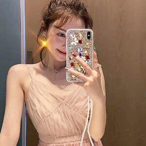 Image 4 - Capa de celular fashion com brilho, capa tpu macia com pedras de cristal, com glitter, para huawei p30 pro p30 p20 lite correia de joias