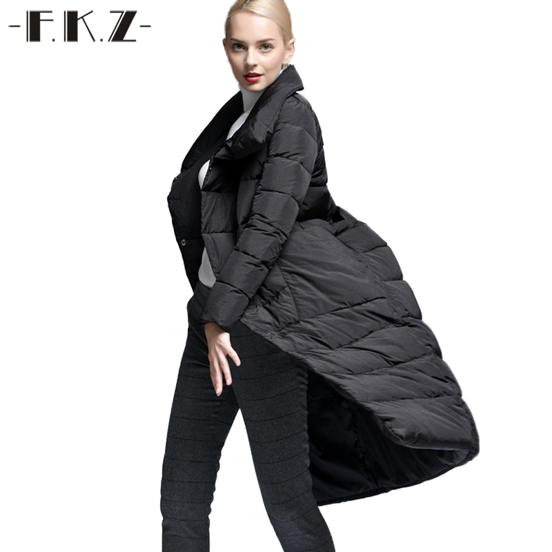 Здесь продается  FKZ Winter Warm Thick Down Coats Women Solid Color Duck Down Long Jacket coat with Big Pocket Women Female Warm Clothes SKC003  Одежда и аксессуары