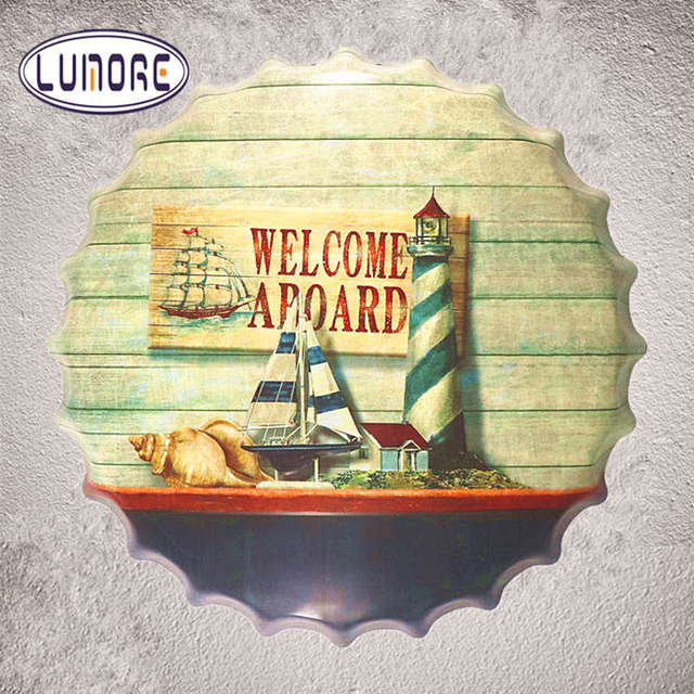 Welcome Aboard Beer Bottle Cap Metal Tin Sign Vintage Home Decor Tin ...