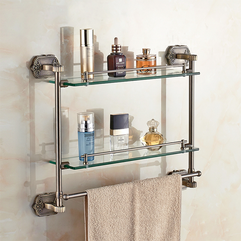 Bathroom Shelves Wall Mounted Bathroom Accessories 2-tier Cosmetic Storage Shelf Bathroom Accessories Gold Antique 3316 chinese antique glass door door handle door handle modern clubhouse bronze sculpture semicircular wooden handle
