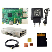 Big discount Raspberry Pi 3 Kit with Pi 3 Board+16G memory card+HDMI cable+EU Power+Heatsinks+Transparent Raspberry pi 3 case