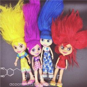 Nebuloso beleza trollz coleção figura casa de boneca crianças presentes bonito menina cabelo colorido 2004 feito coleção