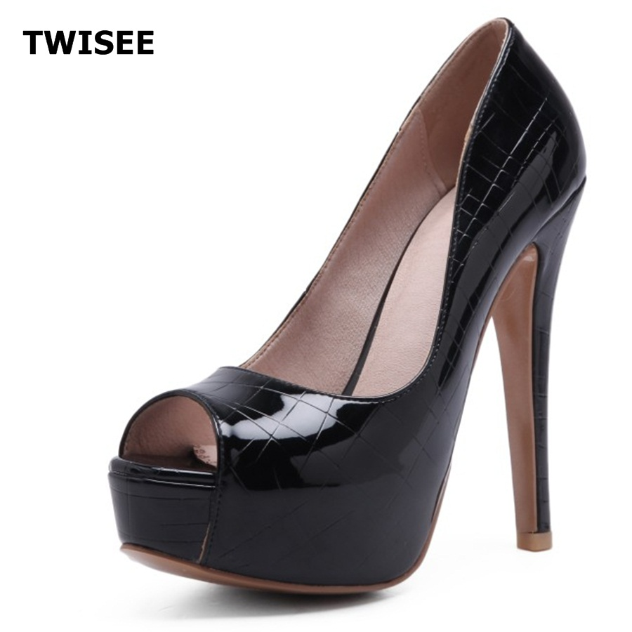 TWISEE women platform Sexy leather Pumps peep Toe Super High Women Shoes Simple thin high Heels Women's party Shoes Size 34-44 ultra thin heels 20cm platform open toe print women s shoes plus size sexy 43 tiangao 42 34
