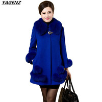 Winter Woolen Jacket Women 2017 Fashion Fur Collar High Quality Woolen Coat Middle Aged Mother Clothes