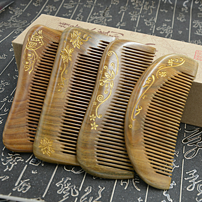 C21 Wooden comb green sandalwood gold carved holistic sandalwood comb green Tan green sandalwood combed wooden head neck mammary gland meridian lymphatic massage comb wide teeth comb