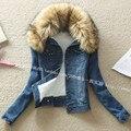 2014 Женщин Корейской Тонкий длинными рукавами короткий параграф женский меховой воротник лайнер Ягненка пальто толще джинсовая куртка