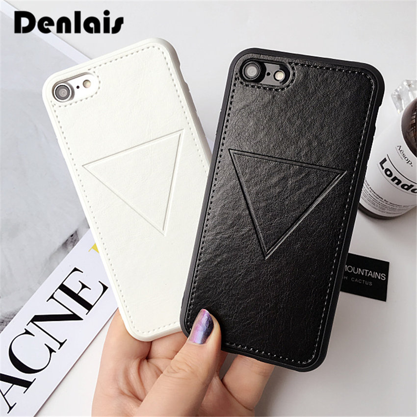 Fashion PU Leather Geometry Triangle Case For iPhone 8 7 Case Cute Print Cover Rubber Soft Phone Case For iPhone7 6 6S Plus Capa