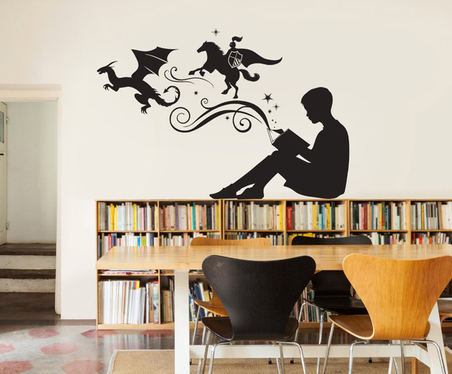 Boy Reading Magic Book Wall Decal Bedroom Home Decor Libraries ...