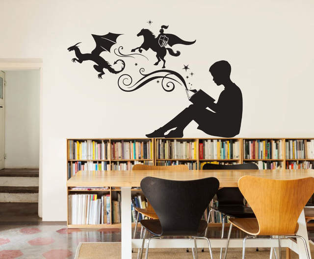 US $4.91 30% OFF|Boy Reading Magic Book Wall Decal Bedroom Home Decor  Libraries Classroom Wall Decoration Mural Stickers Kids Rooms G174-in Wall  ...
