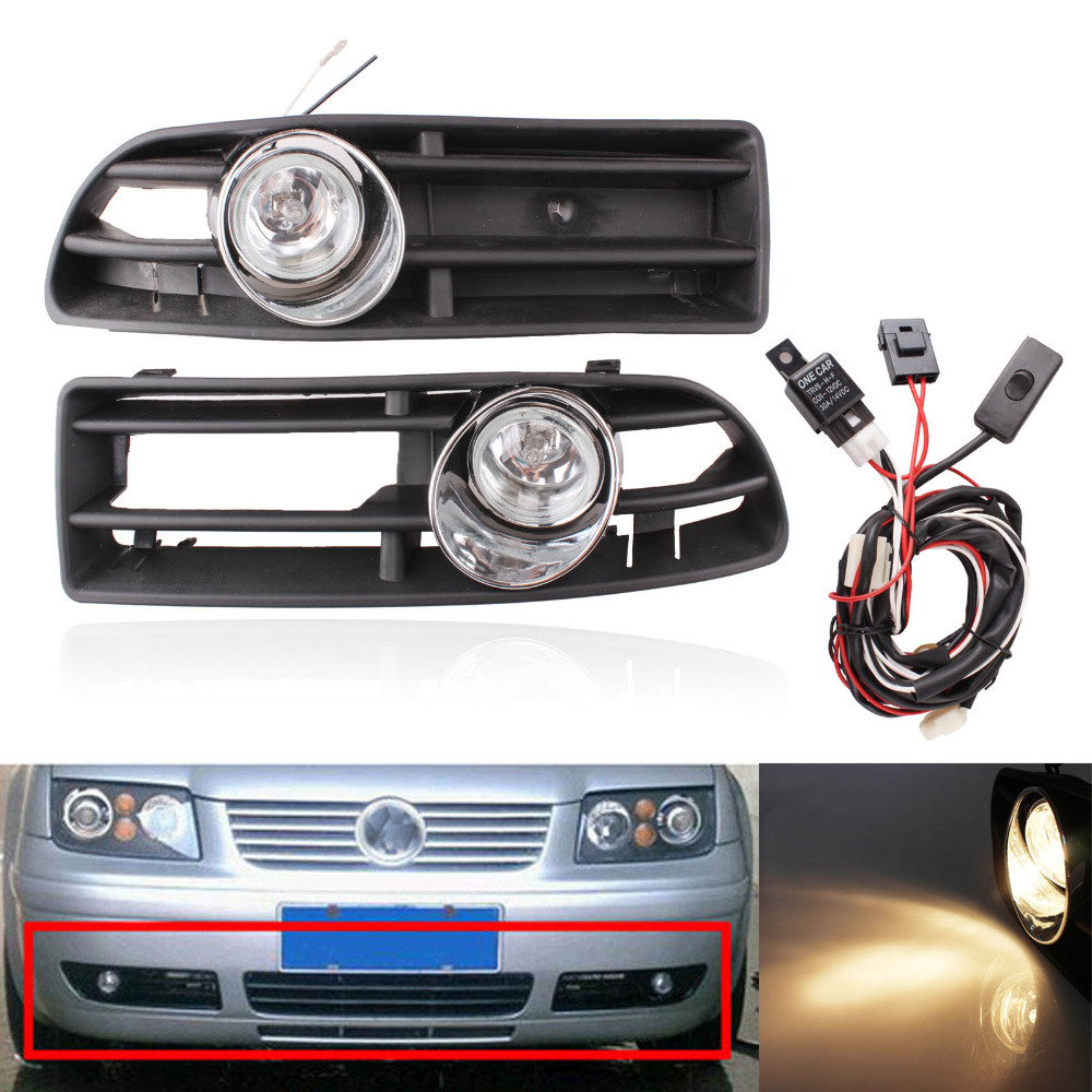 1 Set Front Fog Lights With Racing Grills & Wiring Harness Switch Fog Light Auto Accessories For VW Golf JETTA MK4 1999-2004 5 pieces set front auto fog lights with racing grills cable auto accessories for volkswagen jetta mk6 2011 2014 parts p22