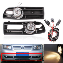 2 PCS Front Lower Racing Grills Grille & Wiring Harness Switch with Fog Light Lamp For VW Golf MK4 GTI TDI 1999-2004 for 97 06 volkswagen golf 12v 4mk4 iv car front fog lamp grille with led daytime running lights wiring kit with wiring harness