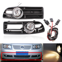 2 pcs Front Fog Lights With Racing Grills & Wiring Harness Switch Fog Light Auto Accessories For VW Golf JETTA MK4 1999 2004