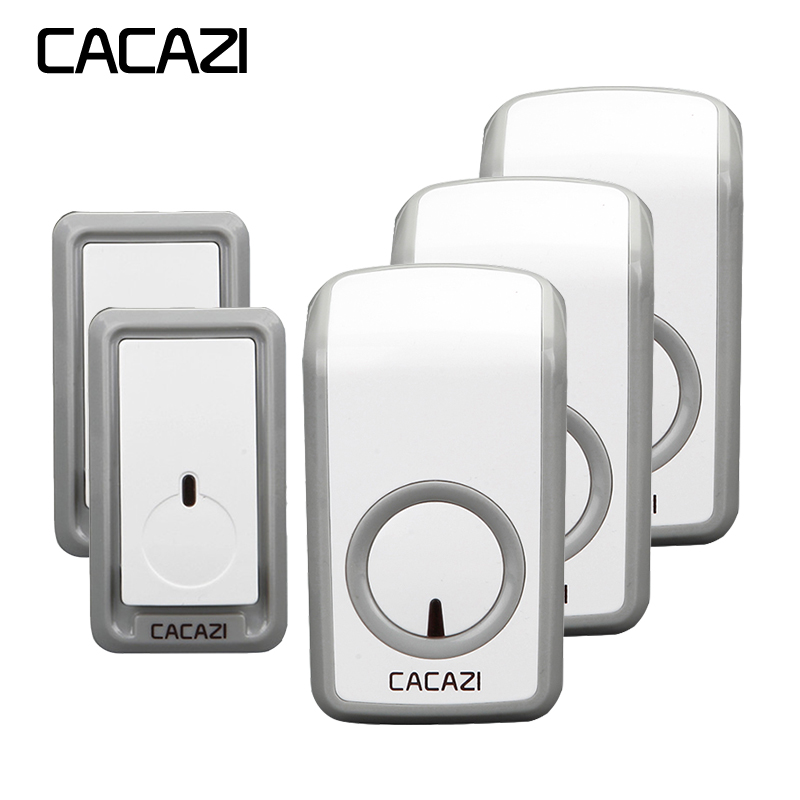 CACAZI Doorbell Wireless Waterproof 350M Remote 2 Battery Button 3 Receivers EU Plug Home Cordless Bell 48 Chime 6 Volume cacazi wireless doorbell waterproof 350m remote 3 battery button 3 receivers 48 chime 6 volume eu plug home cordless bell