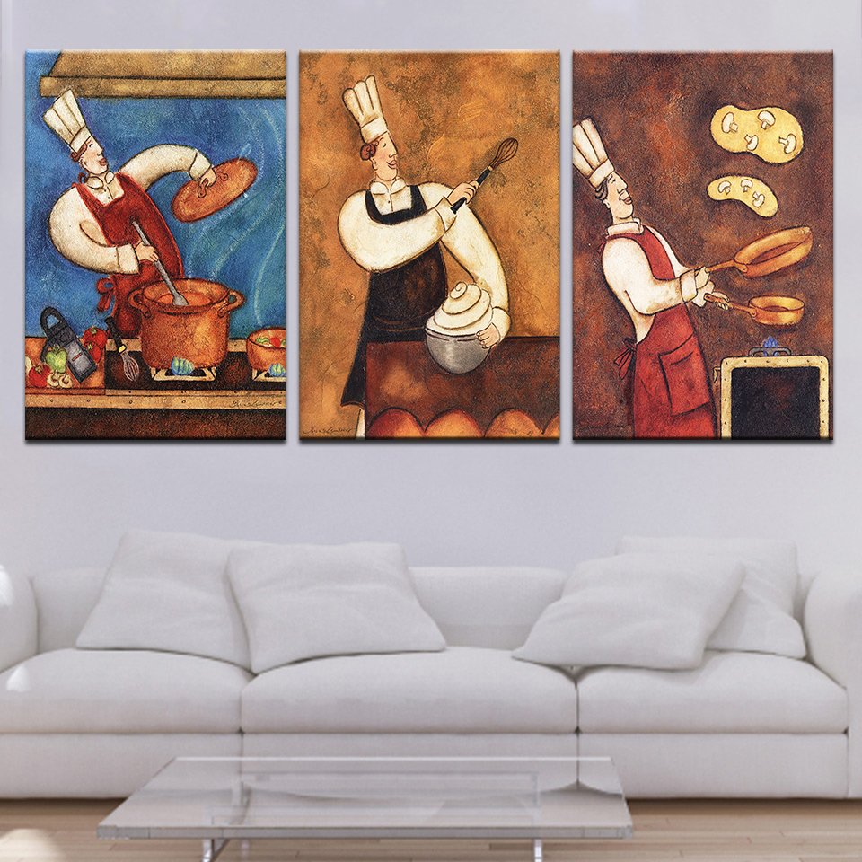 Pasta Chef The Restaurant Personality Cook Oil Painting Bakery Kitchen 3Panel Poster Art Wall Print Picture Canvas