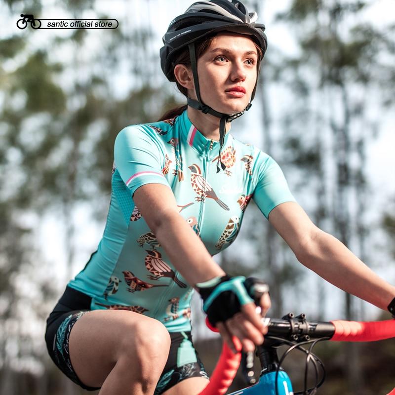 Santic Women Cycling Short Jersey Pro Fit Ladies Road MTB Bike Bicycle Jersey Short Sleeve Summer