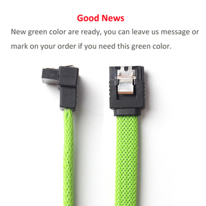 Image 3 - ULT Best 50CM SATA 3.0 III SATA3 7pin Cable Right Angle 6Gb/s SSD HDD Hard Disk Data Cables with Green Color Nylon Sleeved