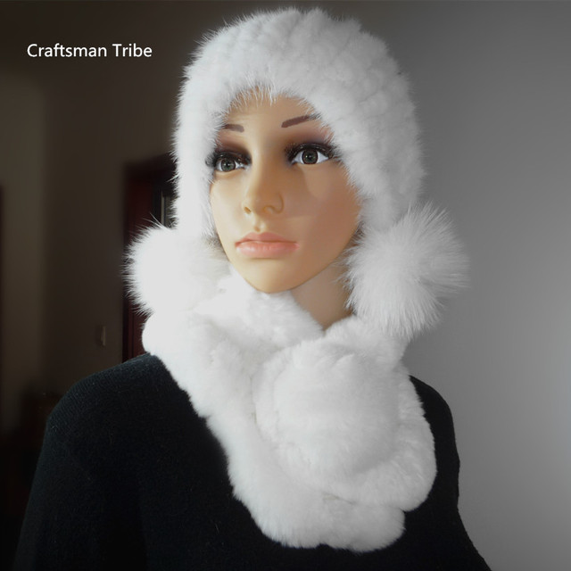a gift for new year Real fur hat scarves set for women,autumn winter natural mink fur hat with fur scarf white fur hatS16124
