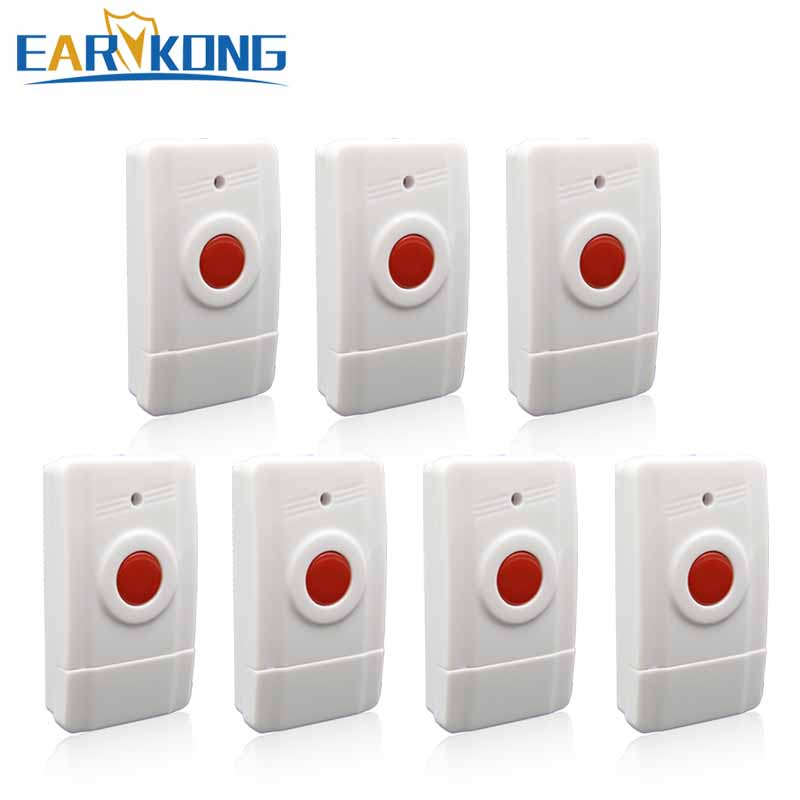 7 pieces Wireless Panic Button. Panic Button, One Key Alarm, Can install on the wall. work at 433MHz, For GSM Alarm System ...