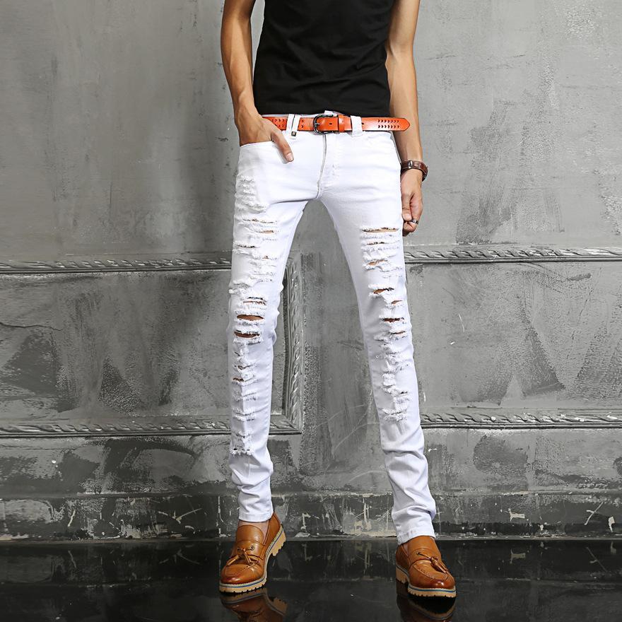 36ec23e7a2 Alta-calidad-del-env%C3%ADo-2015-moda-pantalones-vaqueros-blancos-para -hombre-marca-con-algod%C3%B3n-Denim-pantalones