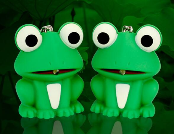 New product voice light big eye green frog font b LED b font luminous keychain cartoon