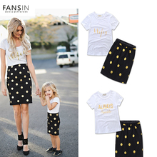 Fansin Brand 2017 Summer Mother Daughter Clothes Letter Short Sleeves T-shirt+Dot Skirts Mommy Kids Family Look Matching Outfits