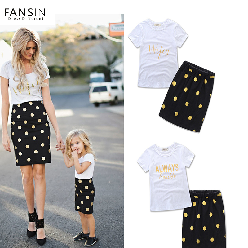 Fansin Brand Summer Mother Daughter Clothes Set Letter Short Sleeves T-shirt+Dot Skirts Mommy Kids Family Look Matching Outfits