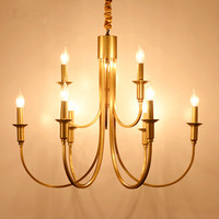 Living Room Gold bronze Full Copper LED Candle Chandelier Lamps Retro American Country Style LED Chandelier Restaurant Prestigio